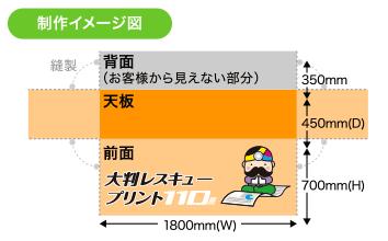 立体縫製タイプ(BOX型)サイズ表